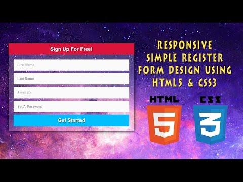 Register Form Design Using HTML5 & CSS3 | Responsive | Web Design | Part 1