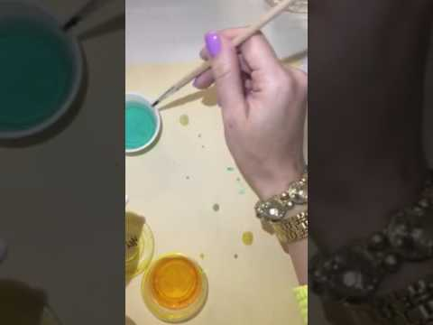 Painting paper clay with liquid watercolor