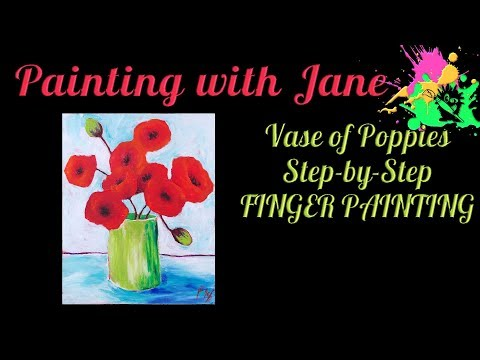 Funky Poppies Step by Step Acrylic Painting on Canvas for Beginners