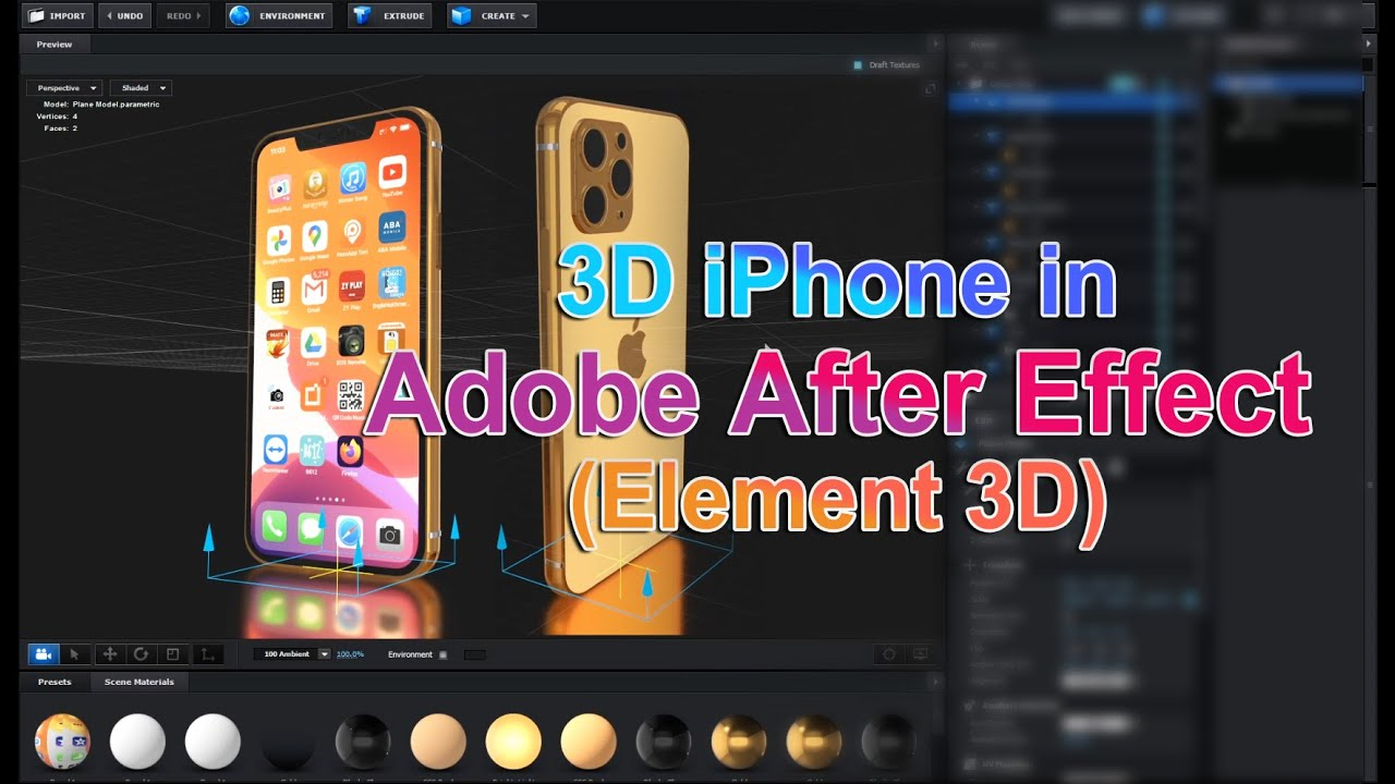 How to Create iPhone 3D Model in After Effect-Element 3D [Modeling+Texture+Light+Animation]