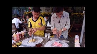 Two Handsome Boy Ice Cream Roll Thailand - Street Food