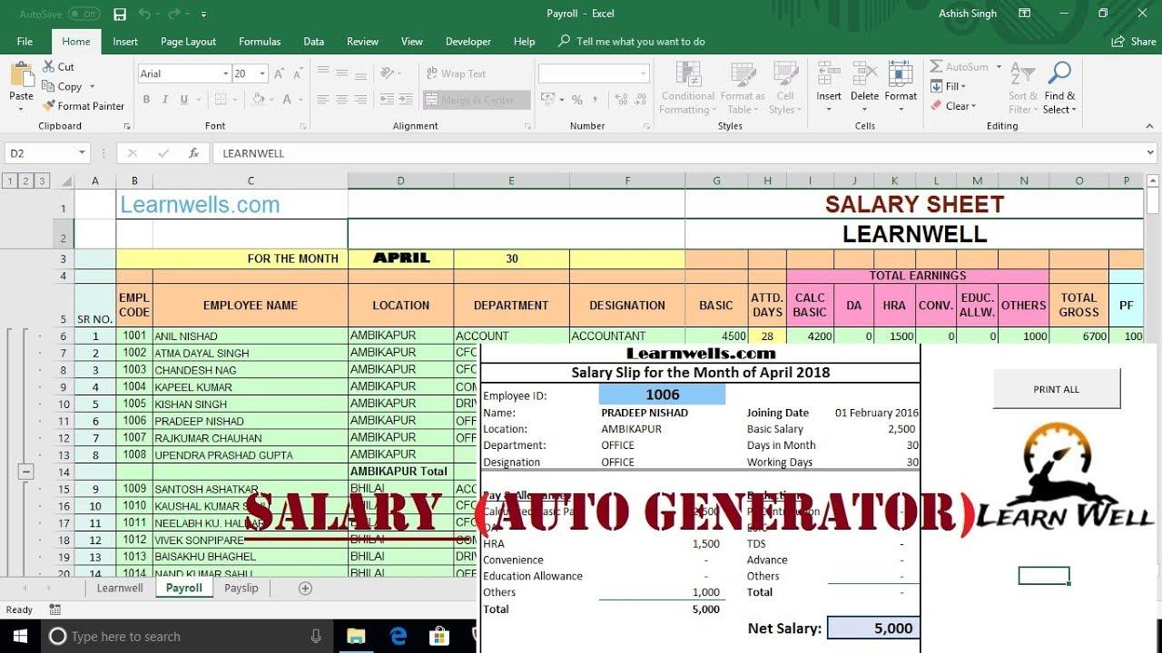 Salary Sheet and Payslip - Auto Generator ☑️