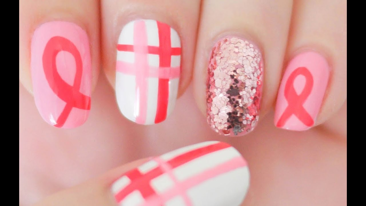 Breast Cancer Awareness Nails for October - YouTube