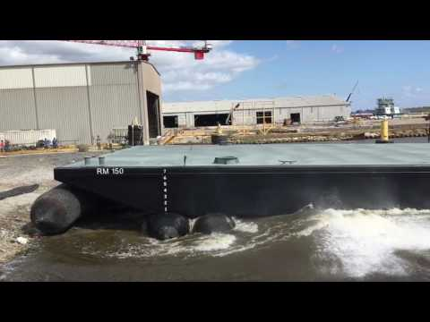 Launching a 200' deck barge on airbags