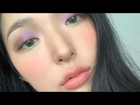 [Edited] Purple and Light Green Color Make-up   Sunday GRWM LIVE