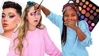 Little Sister Follows James Charles Tutorial | James Charles X Morphe Pallete