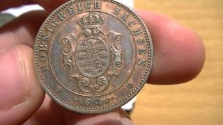 5 Pfennige 1865 B Koenigreich Sachsen