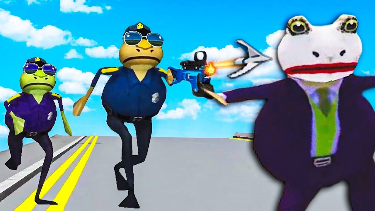 We use Grappling Hook to catch the JOKER as Cops in Amazing Frog Multiplayer