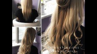 Капсульное наращивание волос, микрокапсулы. Укладка наращенных волос. hair extensions