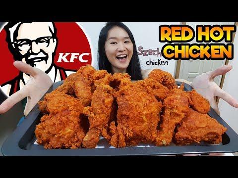 KFC SPICY SZECHUAN FRIED CHICKEN w/ Flaming Hot Sauce & Vanilla Custard Puffs | Eating Show Mukbang