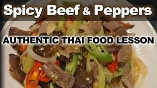 Authentic Thai Recipe for Spicy Beef with Mixed Peppers -  เนื้อผัดพริกอ่อน - Neua Pad Prik On