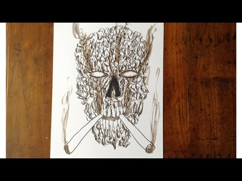 Smoking Skull Drawing