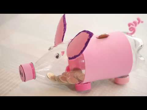 How to Piggy Bank Pig with Plastic Bottle- HomeArtTv By Juan Gonzalo Angel