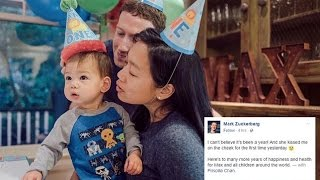 Mark Zuckerberg's daughter turns one a day after kissing her dad's cheek for the first time