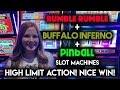 High Limit Slot Machine Action! Buffalo Inferno and Pinball! $15/Spin!