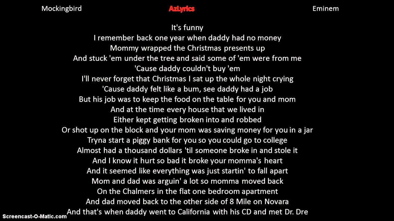 Eminem Lyrics Mockingbird