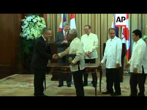 Canadian prime minister arrives for visit, greeted by president of the Philippines