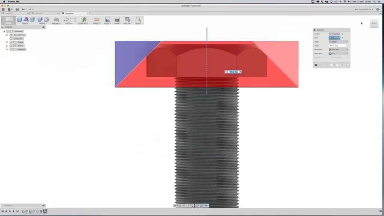 Autodesk Fusion 360 tutorial: screw with threads #2