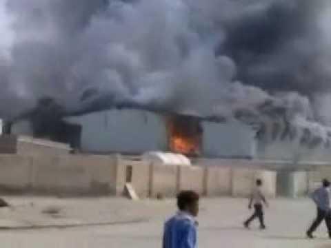 Descon Qatar camp on fire.wmv