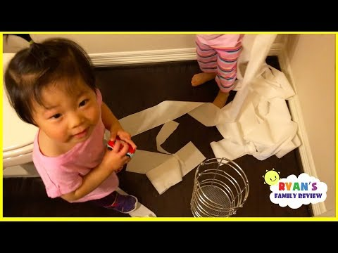 Kids Caught Pulling Paper and Drawing all over the wall with Ryan's Family Review!