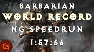 Diablo 3 Barbarian Any% NG World Record Speedrun 1:57:56