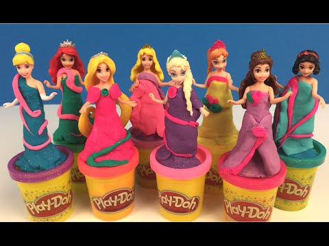 ❤-disney-princess-playdoh-dress-up-part-2-❤-cinderella-ariel-rapunzel-elsa-anna-belle-snow-white