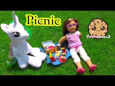 Thumbnail: Outside Picnic with American Girl Doll + My Little Pony Princess Celestia - Cookieswirlc
