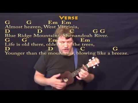 Country Roads - Ukulele Cover Lesson with Lyrics/Chords
