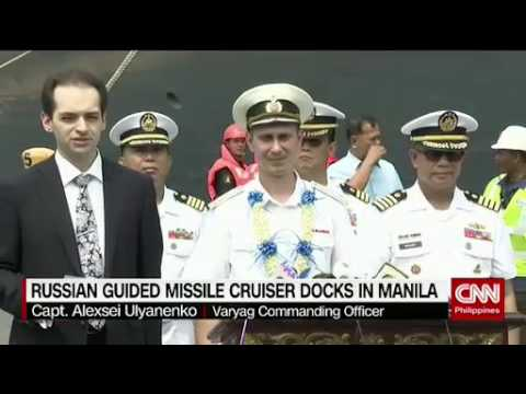 Russian guided missile cruiser docks in Manila