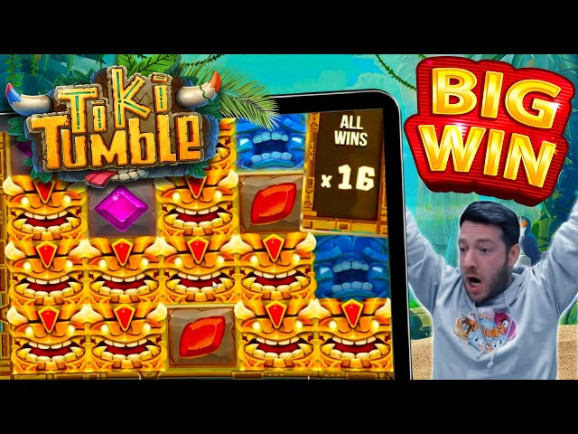 ITS A WILDLINE!! Tiki Tumble Going Off! Online Slot Big Win!