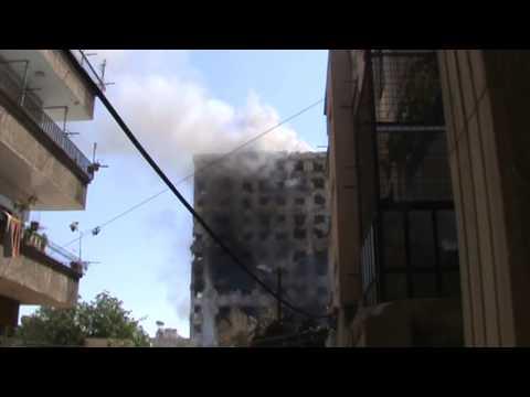 احتراق برج المعلمين في حي جوبر الدمشقي 26 4 2013