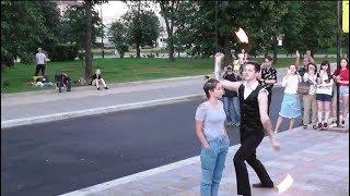 Фаер-шоу (Fire show), огненное представление перед девушкой (август 2018)!