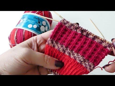 Kästchenmuster - Waffelmuster Socken stricken mega einfach - YouTube