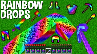 How to MINE RAINBOW and GET RAINBOW DROPS in Minecraft ? SECRET RAINBOW ITEMS !
