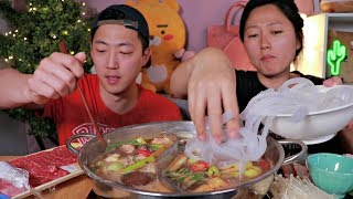 CHINESE HOT POT MUKBANG 🔥 ft. Mung Bean Jelly Noodles!