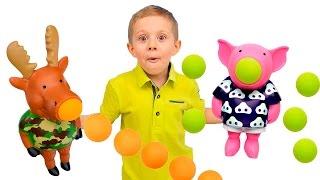 Видео для детей - Смешные игрушки Лось и Свинья - Весёлое детское видео с игрушками
