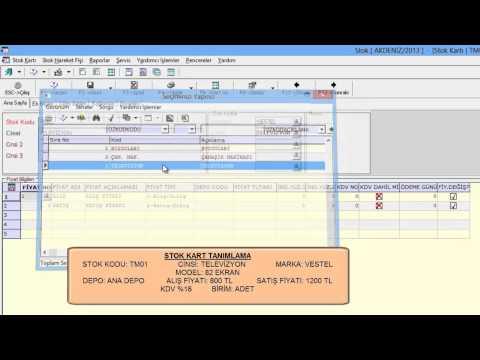 ETA V.8. SQL'DE ŞİRKET KURULUMU VE STOK KARTI TANIMI VE DEVİR FİŞİ