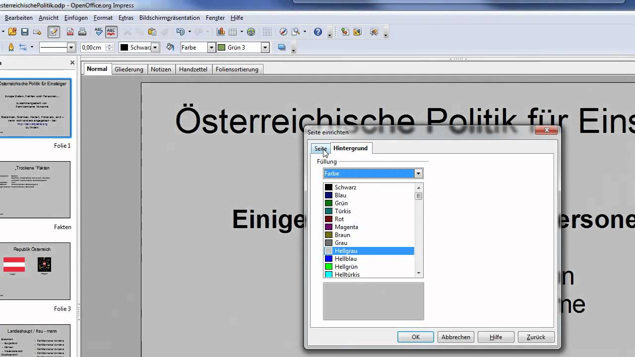 Hintergrundbild einfugen open office prasentation