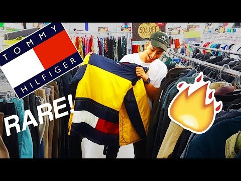 TOMMY HILFIGER JACKET IN THRIFT SHOP!! VINTAGE HAUL | Trip to the Thrift #1