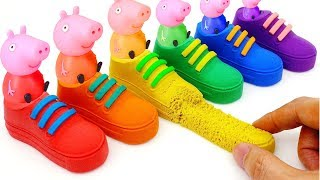 Learn Colors Kinetic Sand VS Mad Mattr Rainbow Shoes & Fun Peppa Pig Toys | Nursery Rhymes For Kids