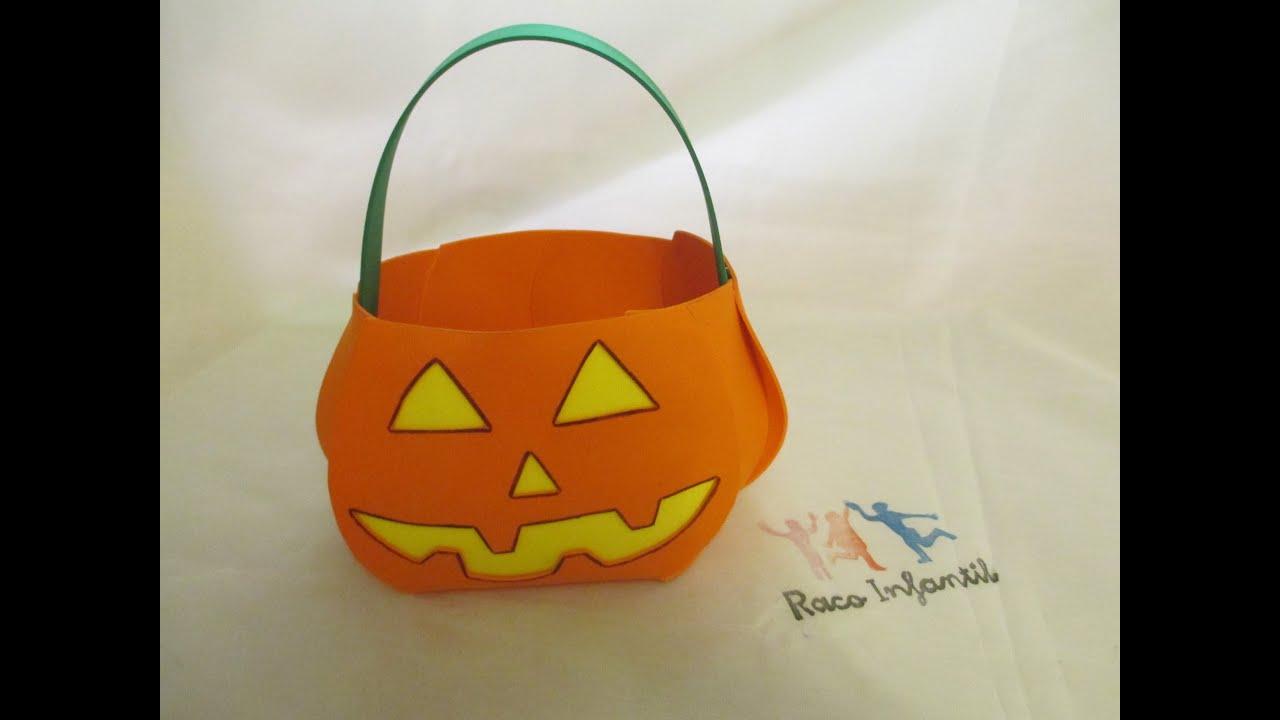 Cesta halloween con goma eva youtube - Calabazas de halloween manualidades ...