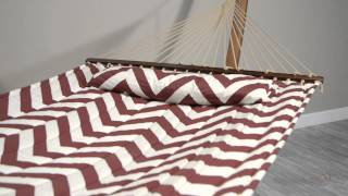 Island Bay 13 Ft. Merlot And Cream Chevron Stripe Quilted Hammock With Wood Arc Stand