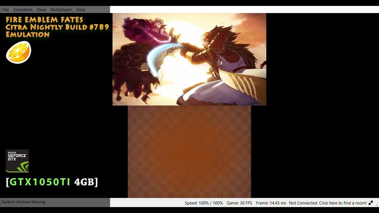Running Fire Emblem Fates(JP) on PC via Citra |GTX1050Ti|
