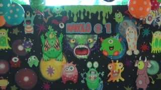 Groove Paint Little Monster Theme Styro Backdrop & Balloon Decoration