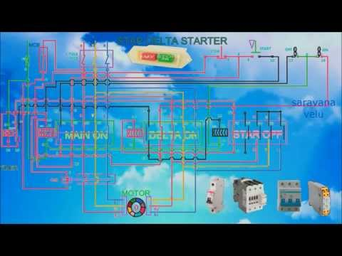 star delta starter motor control circuit diagram in hindi how to work a star delta starter control wiring and connection diagram animation video