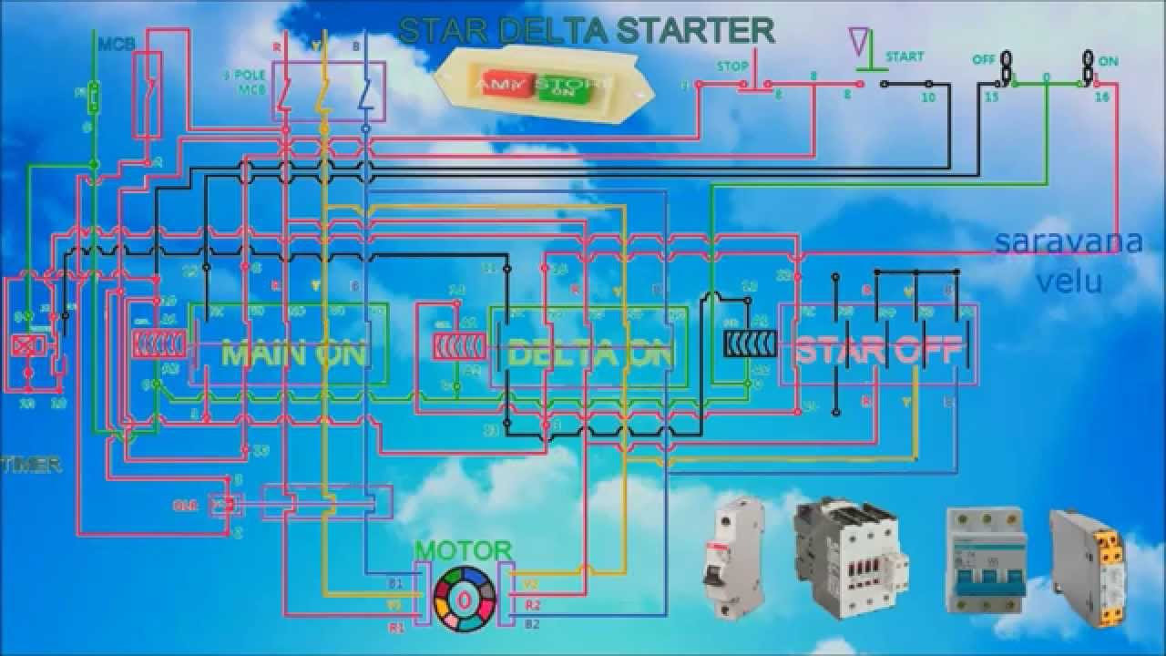 star delta wiring diagram motor frog external anatomy how to work a starter with control and connection animation video youtube