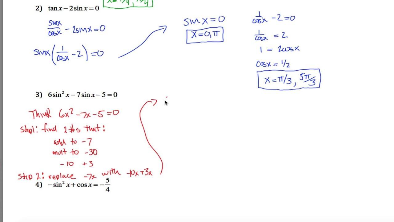 Trig Worksheet Part 1