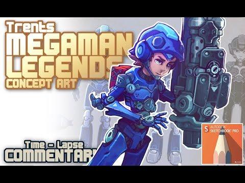 Megaman Legends 3 concept art in Sketchbook Pro (Speedpaint with commentary)