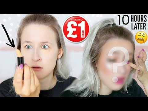 FULL FACE OF £1 MAKEUP! Testing POUNDLAND Makeup + 10 HOUR Wear Test | Sophie Louise