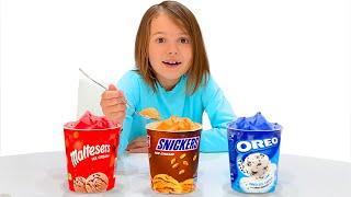 Katya en la tienda compra helado
